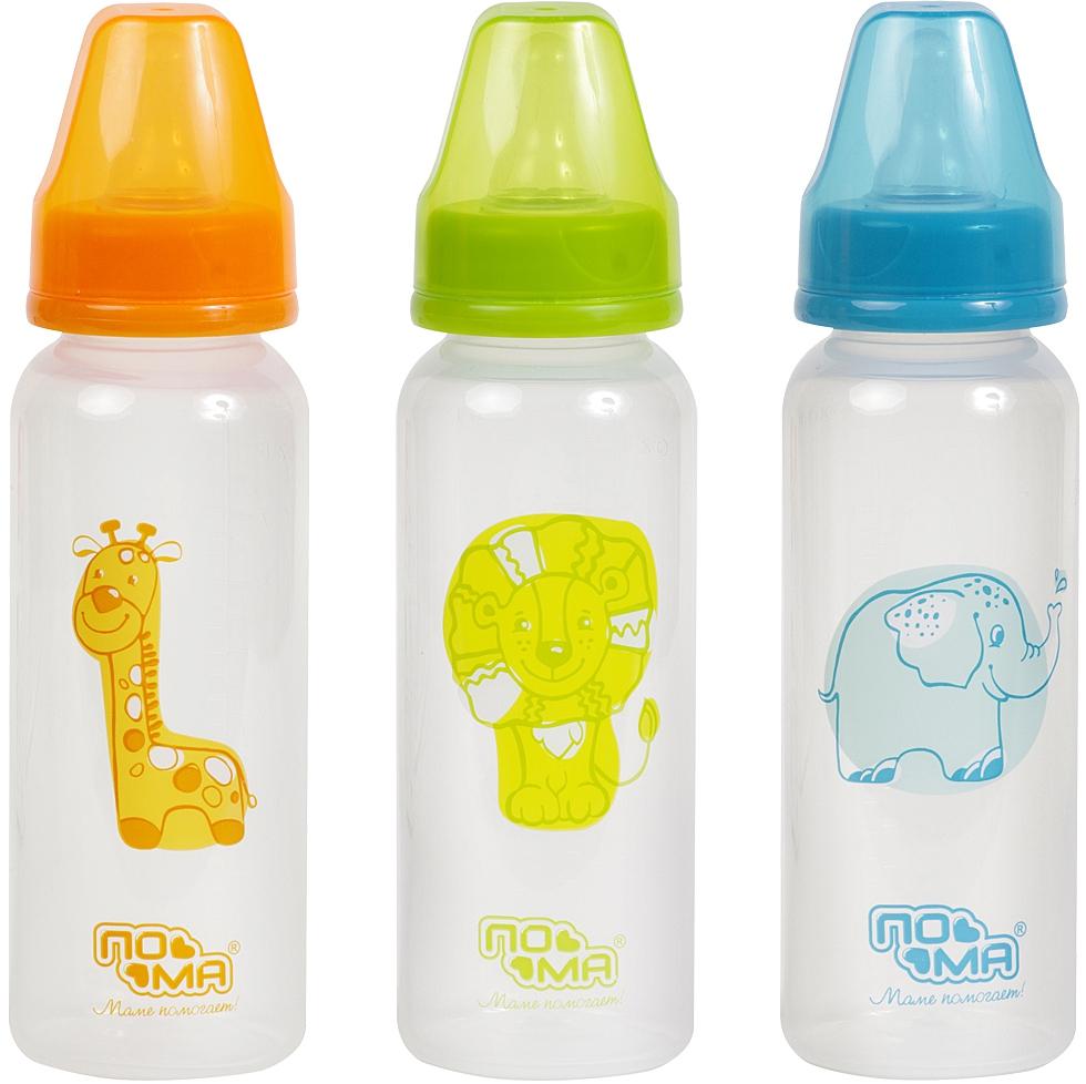 Бутылочки ПОМА с силиконовой соской 6 мес.+, 240 мл. бутылочки пома полипропилен силик соска 140 мл
