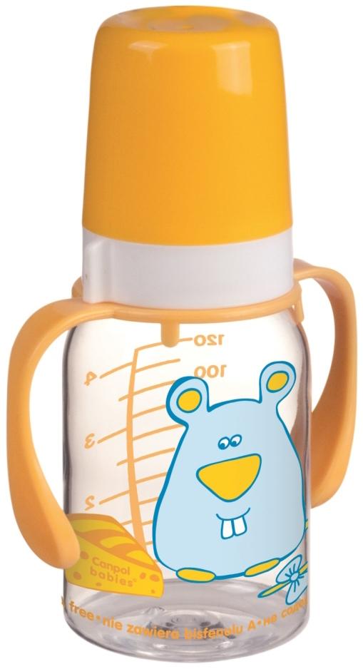 Купить Бутылочки, с ручками и силиконовой соской 3мес.+, 120 мл., Canpol babies, Польша, желтый