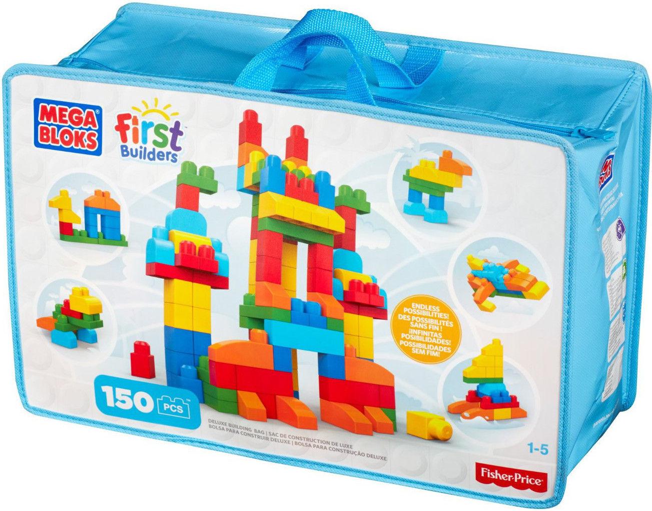 Конструкторы для малышей Mega Bloks First Builders CNM43 Делюкс конструктор mega bloks first builders веселые качели 29 элементов