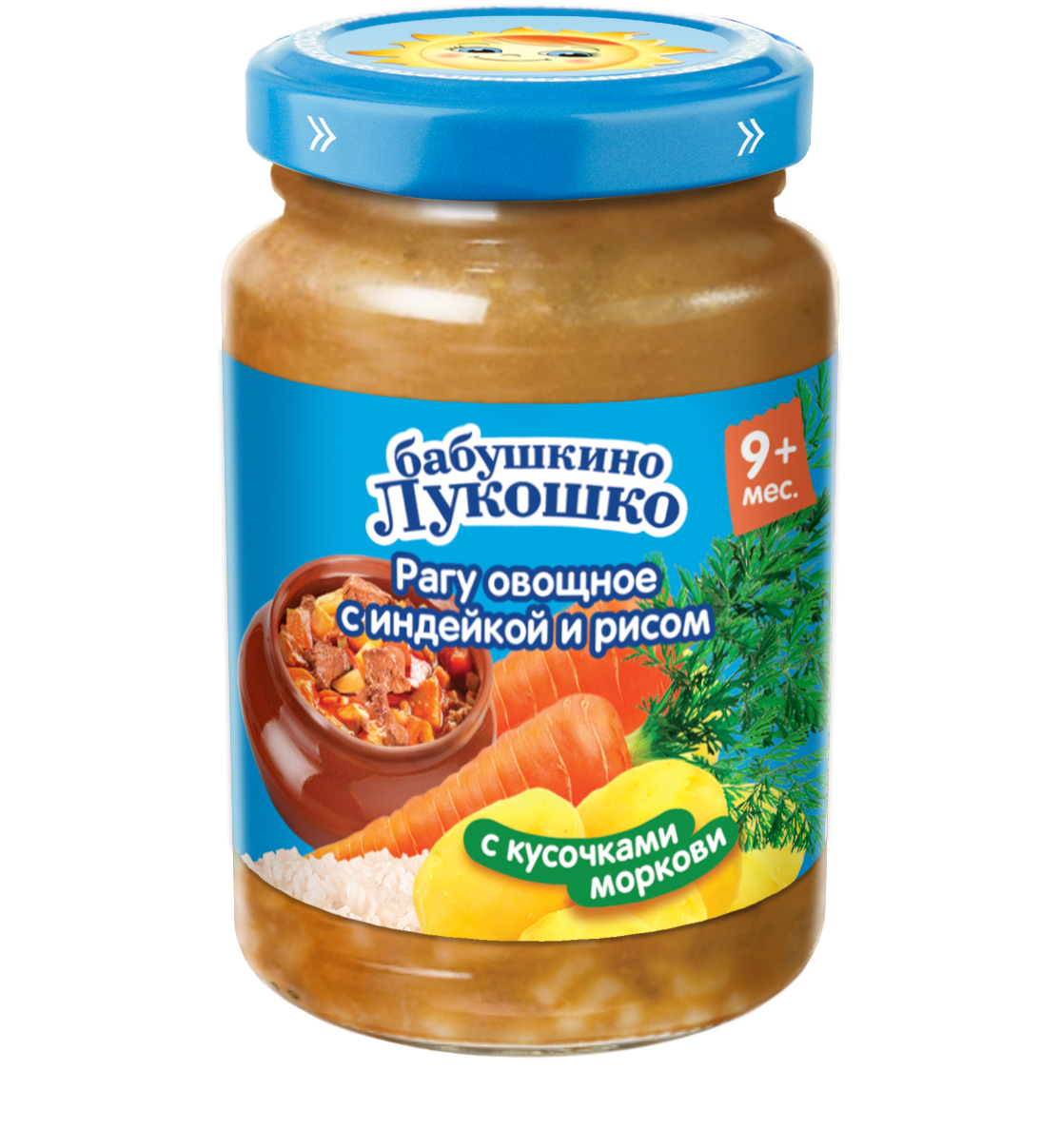 Пюре Бабушкино лукошко Рагу овощное с индейкой и рисом с 9 мес. 190 г semper пюре рагу овощное с сёмгой и рисом с 9 месяцев 190 г