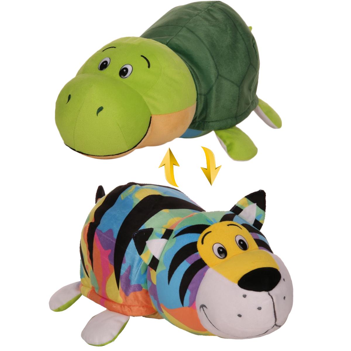 Мягкая игрушка 1toy Вывернушка Тигр-Черепаха плюшевая игрушка вывернушка слон тигр 35см