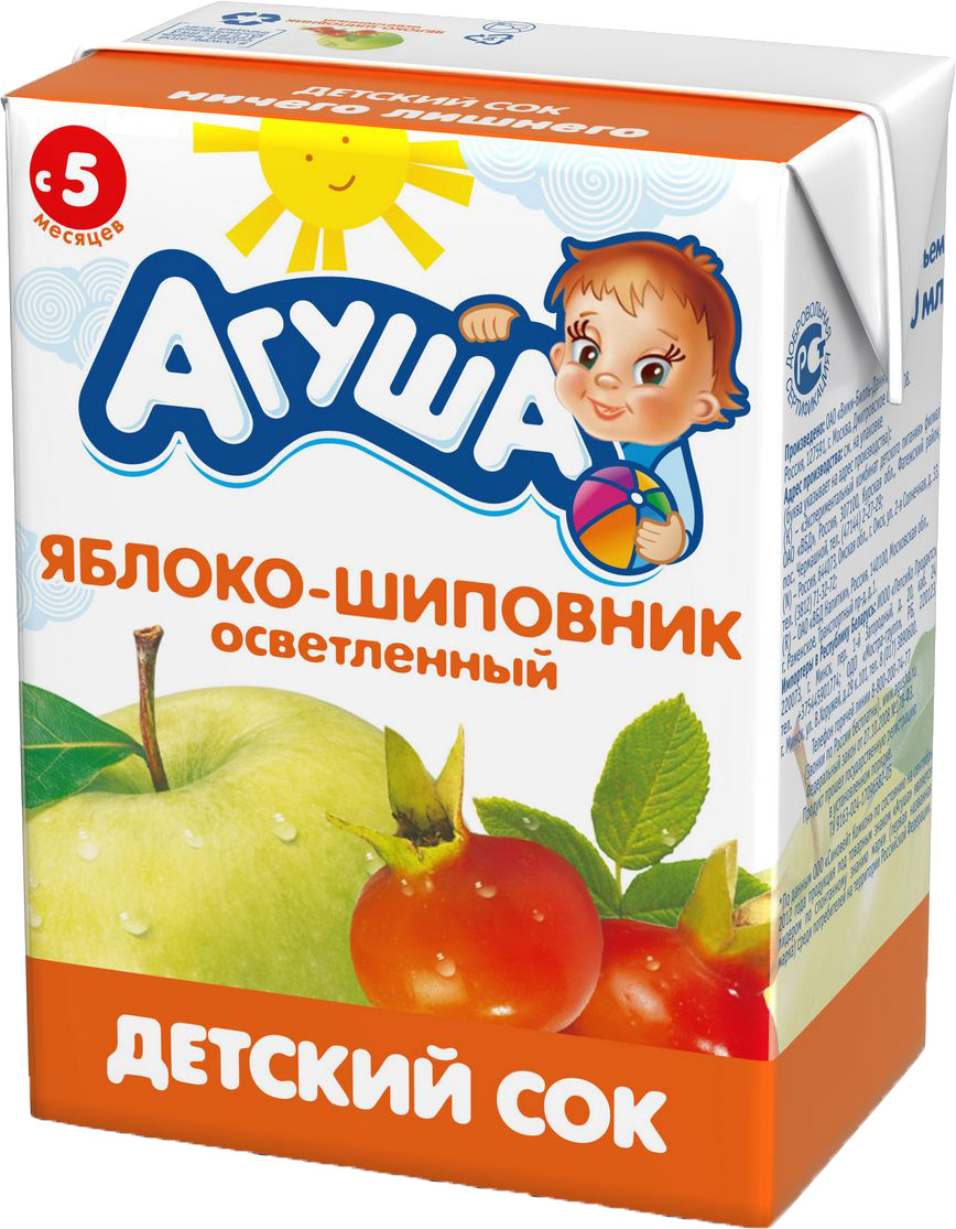 Напитки Агуша Сок Агуша Яблоко и шиповник с 5 мес. 200 мл агуша компот агуша курага изюм яблоко 0 2 л с 8 мес