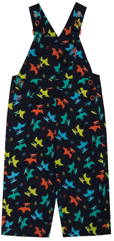 Купить Полукомбинезон для мальчика, синий с рисунком «динозавры», Barkito, Бангладеш, темно-синий с рисунком динозавры, 100% хлопок, Мужской