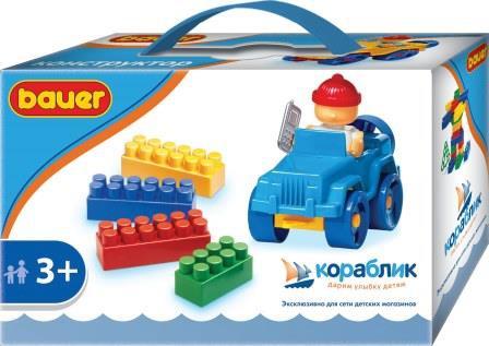 Конструкторы для малышей Кораблик Конструктор Bauer «Серия Кораблик: Машинка с кубиками» 39 дет. конструктор пластмастер 14034 поезд 21 дет