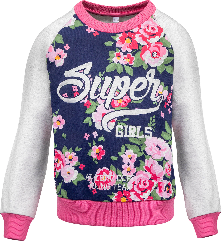 """Толстовки Barkito Джемпер модель """"толстовка"""" для девочки Barkito """"Спортивная леди"""", темно-синий с бежевой отделкой цены онлайн"""