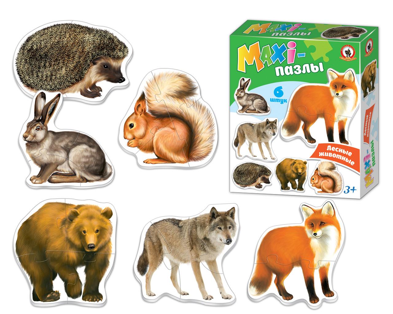 Макси-пазл Русский стиль Лесные животные коврик пазл животные 12 элементов