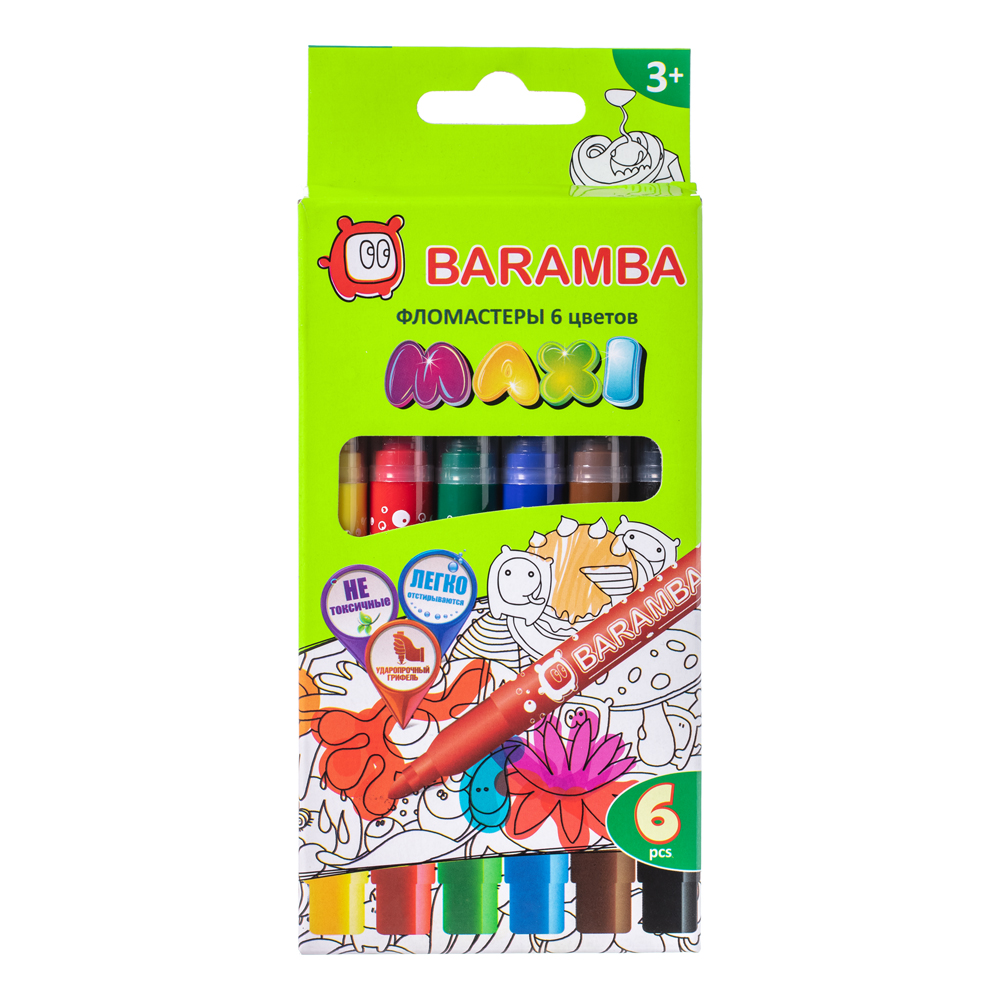 цена Фломастеры Baramba Макси на водной основе 6 цветов онлайн в 2017 году