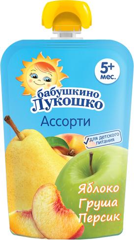 Пюре Бабушкино лукошко Пюре Бабушкино Лукошко Яблоко, груша и персик с 5 мес. 90 г (пауч) пюре бабушкино лукошко яблоко и банан с 6 мес 90 г пауч