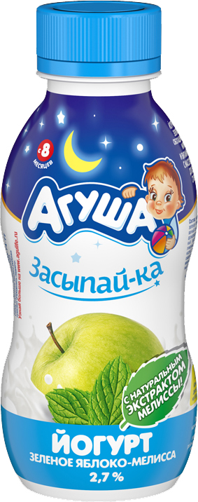 Молочная продукция Агуша Агуша питьевой «Засыпай-ка» Зеленое яблоко-мелисса 2,7% с 8 мес. 200 мл ряженка агуша 3 2% с 12 мес 200 г