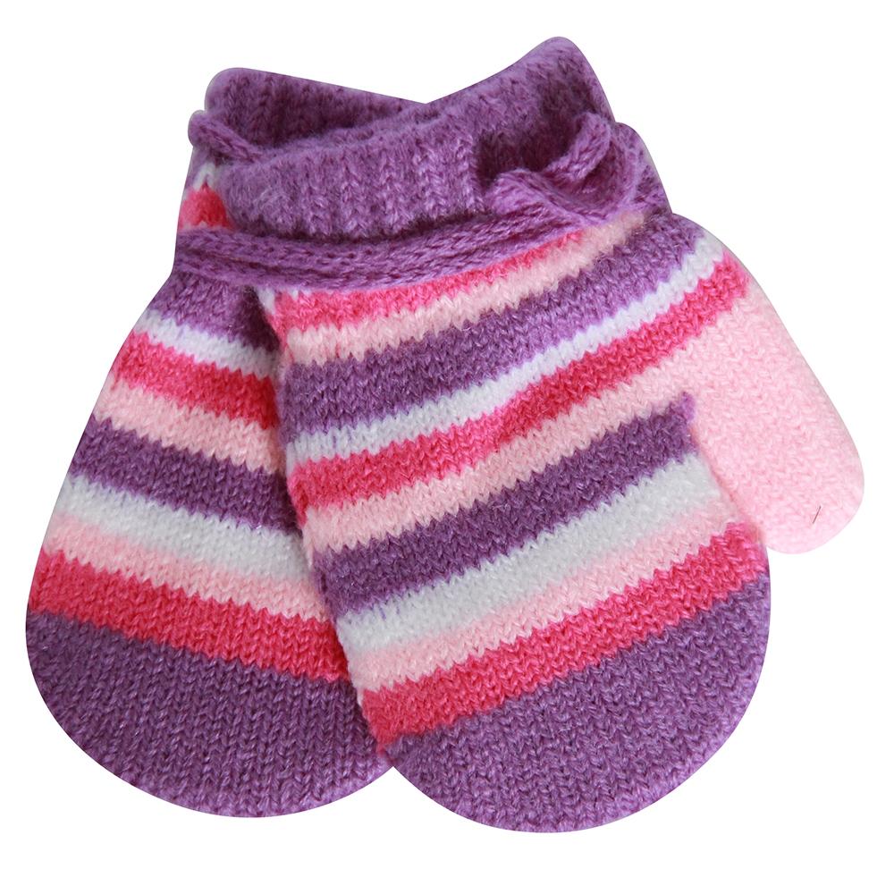 Купить Варежки и перчатки, Варежки для девочки Хамелеон сиреневые, в полоску, Китай, сиреневые в полоску (белая, розовая, малиновая), Женский