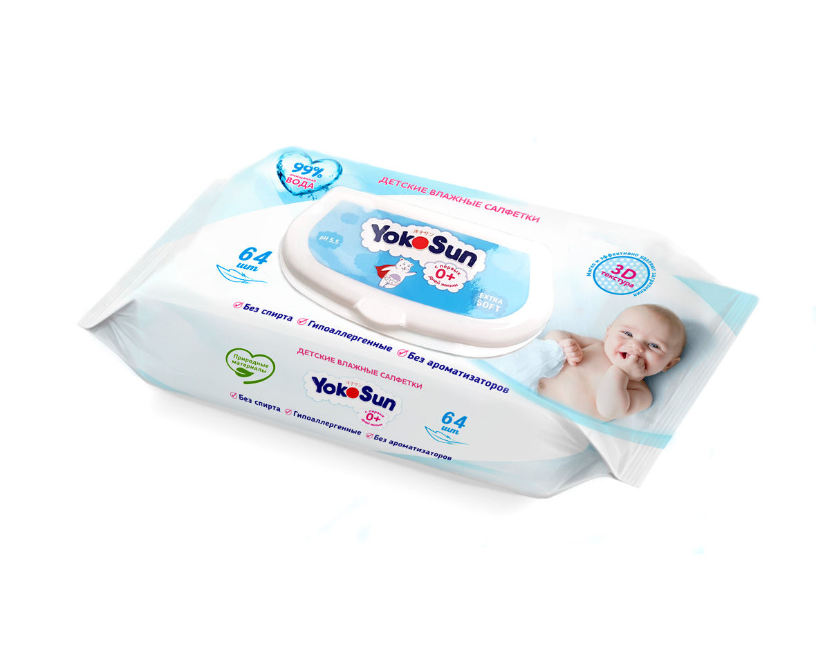 Прокладки и салфетки YokoSun Влажные салфетки YokoSun 64 шт. салфетки babyline влажные салфетки комфорт sensitive 80 шт