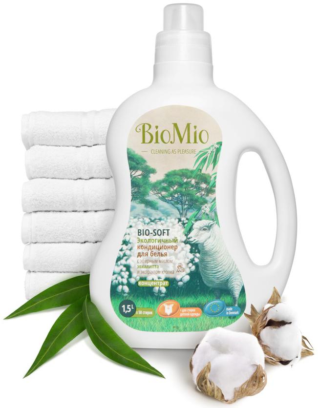 Средства для стирки BIO MIO Кондиционер для белья BioMio с эфирным маслом и хлопком 1,5 л кондиционер для белья экологичный bio mio концентрат bio soft с эфирным маслом корицы 1 5л