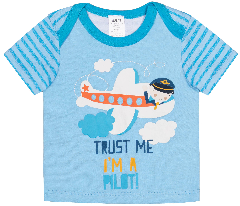 Купить Футболка для мальчика, Маленький пилот белая с рисунком, голубая, 1шт., Barkito S18B0112U, Узбекистан, белый с рисунком, голубой, Мужской