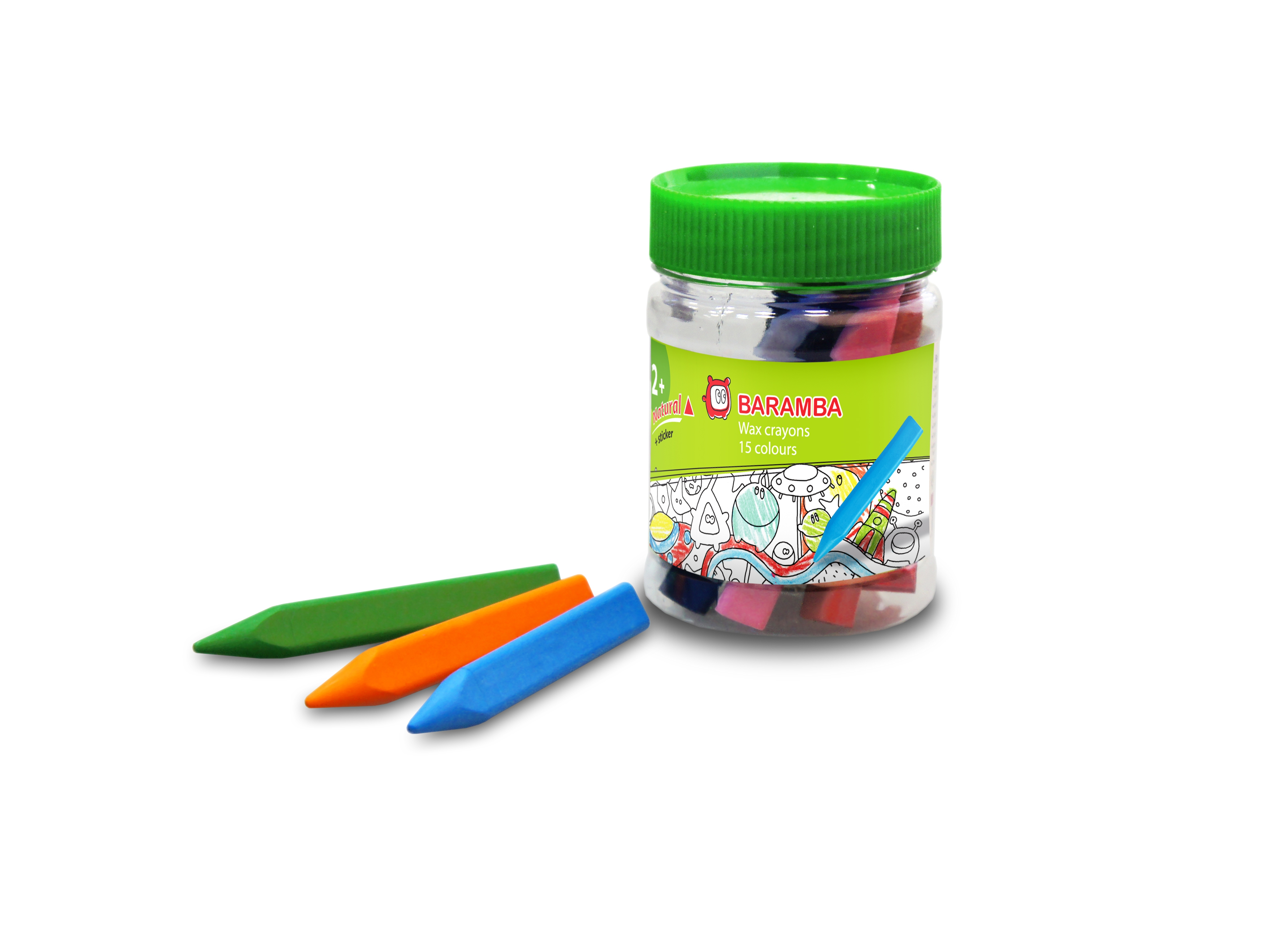 Ручки и карандаши Baramba Карандаши восковые Baramba треугольные 15 цв. с точилкой и раскраской карандаши восковые мелки пастель berlingo карандаши замки 18 цветов