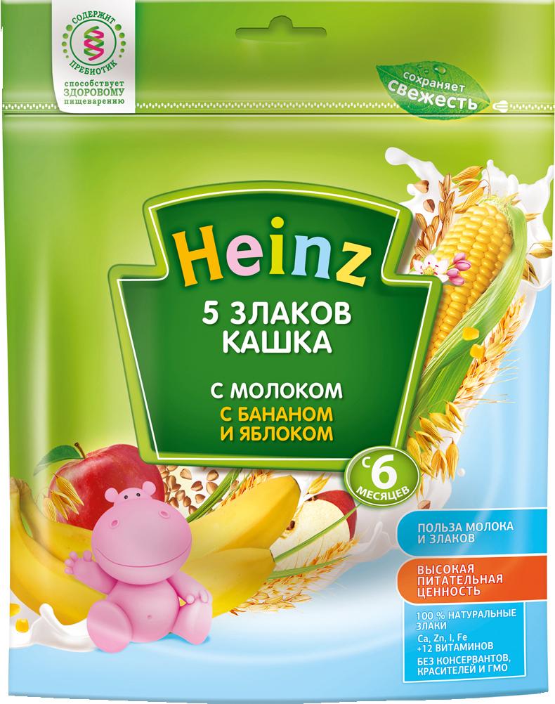 Молочные Heinz Heinz Молочная 5 злаков с бананом и яблоком (с 6 месяцев) 250 г каша молочная heinz 5 злаков банан яблоко с 6 мес 250 г