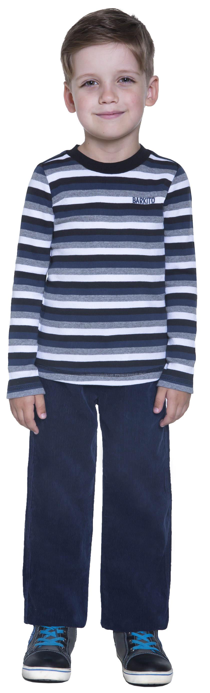 """где купить Футболки Barkito Футболка с длинным рукавом для мальчика Barkito, """"Динамика"""", белая с рисунком """"полоска"""" по лучшей цене"""