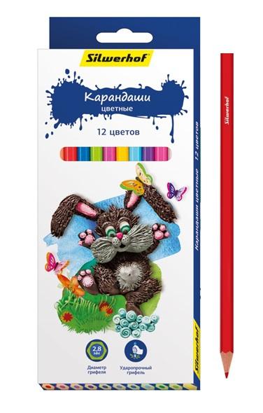 Карандаши цветные Silwerhof Пластилиновая коллекция 12 цветов ручки и карандаши silwerhof 24 цветов