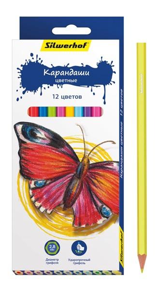 Карандаши Silwerhof Цветные «Бабочки» 12 цветов ручки и карандаши silwerhof карандаши цветные silwerhof 12 цв