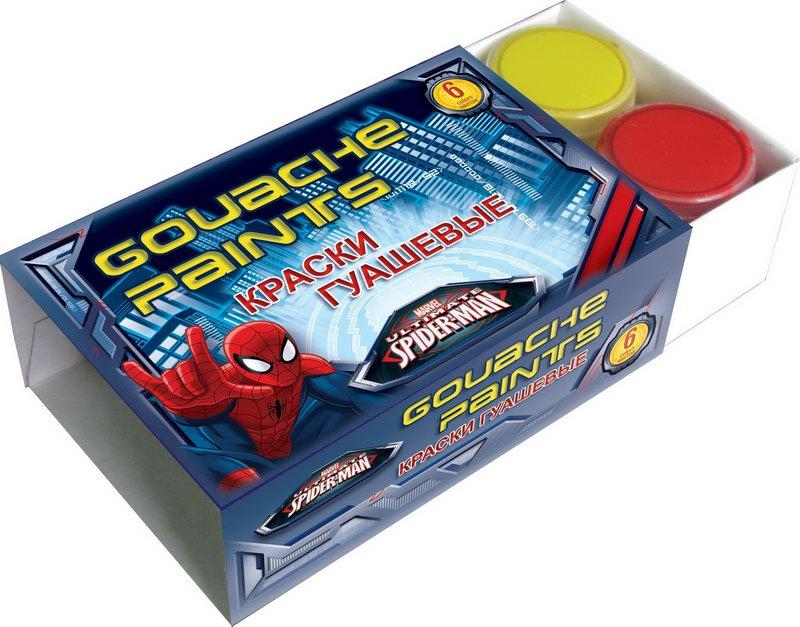 Краски гуашевые Spider-man 6 цветов Spider-man Spider-man 6 цветов линейка spider man раскладная с трафаретом