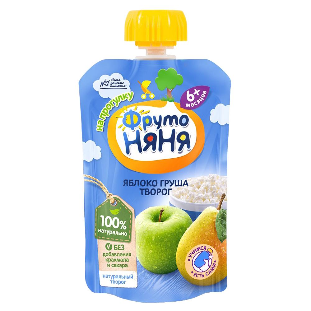 Пюре Прогресс ФрутоНяня Из яблок и груш с творогом (с 6 месяцев) мягкая упаковка 90 г цена в Москве и Питере