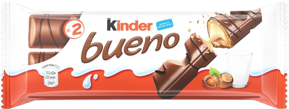 Вафли Kinder Bueno с лесными орехами 43 г