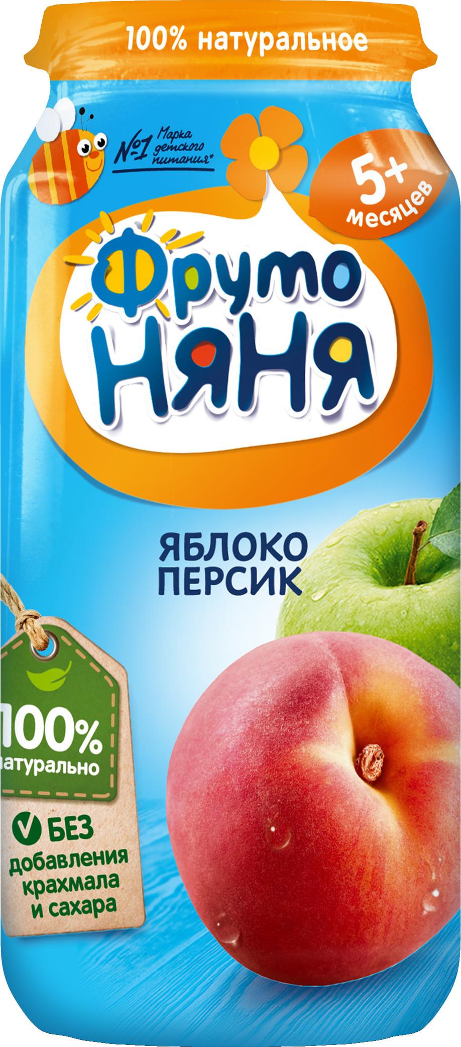 Пюре Прогресс ФрутоНяня Из яблок и персиков (с 5 месяцев) 250 г