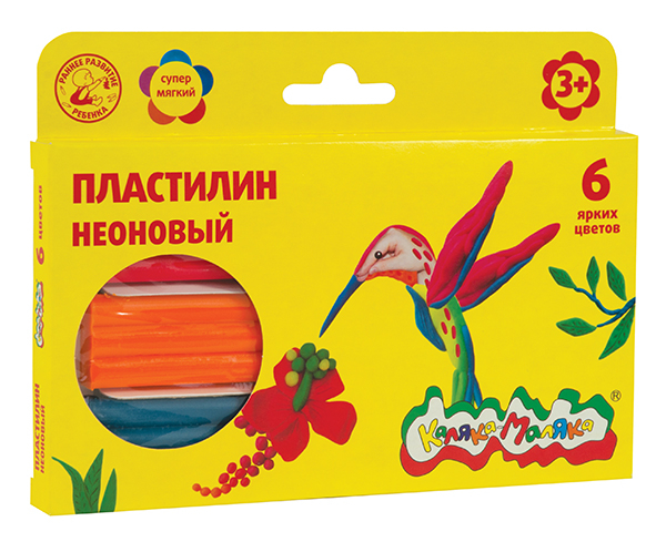 Пластилин Каляка-Маляка Неоновый 6 цв.