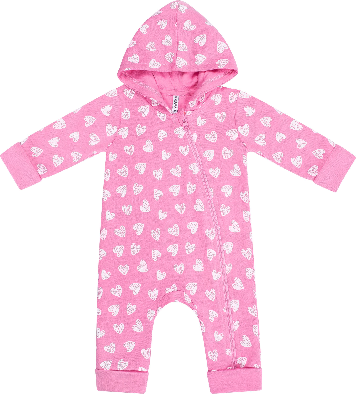 Комбинезон для девочки Barkito Пингвиненок Лоло, розовый с белыми сердцами