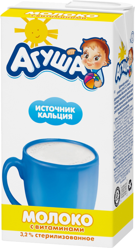Молочная продукция Агуша Молоко Агуша с витаминами 3,2% с 3 лет 500 мл молочная продукция беллакт молоко стерилизованное с витаминами а с 2 5% 8 мес 200 мл