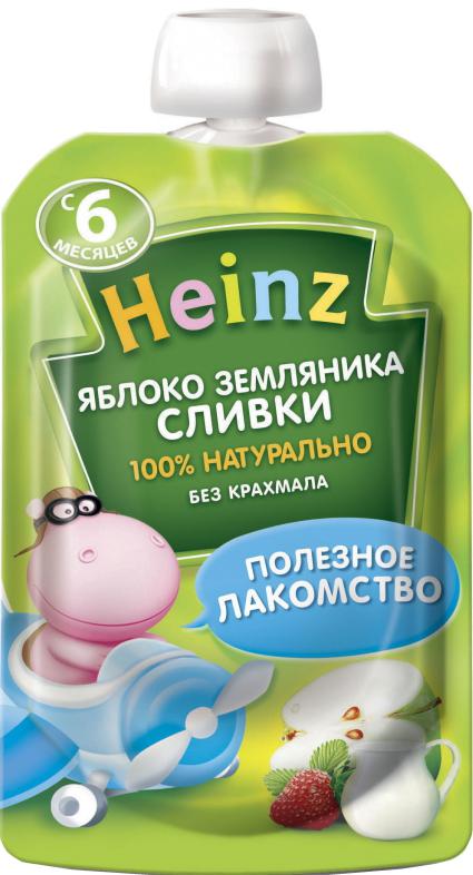 Пюре Heinz Heinz Яблоко, земляника, сливки (с 6 месяцев) 90 г