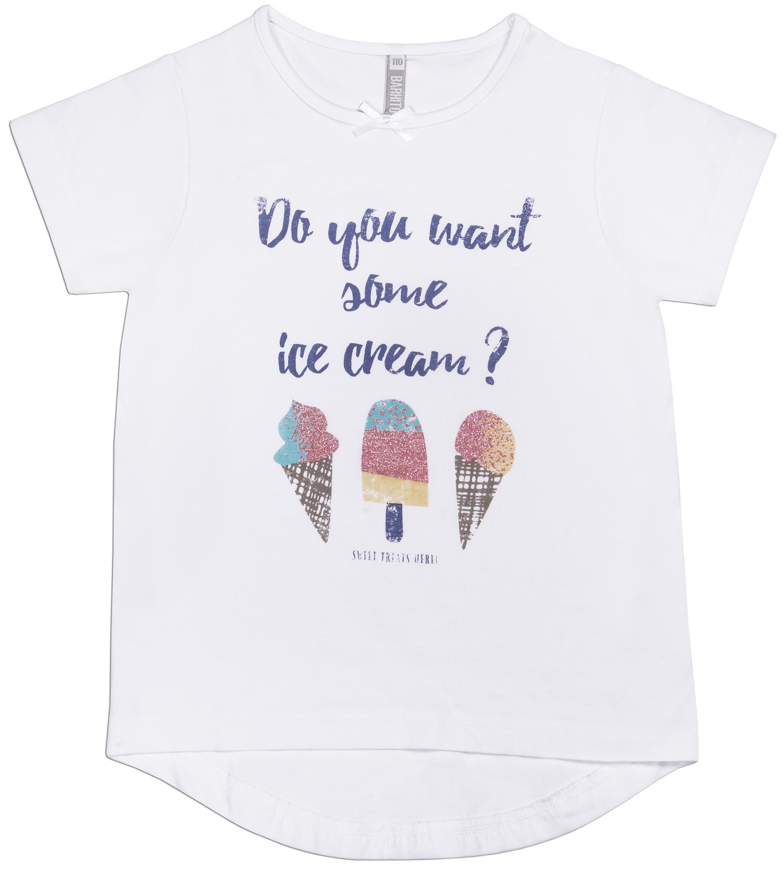 Футболка с коротким рукавом для девочки Barkito Мороженое белая кресло мешок dreambag пенек австралия топ