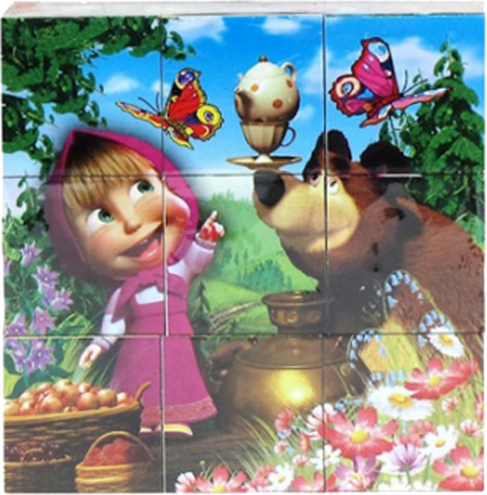 Деревянные игрушки Маша и Медведь Маша и Медведь 9 шт. набор step puzzle пластиковых кубиков анимаккорд 9шт маша и медведь