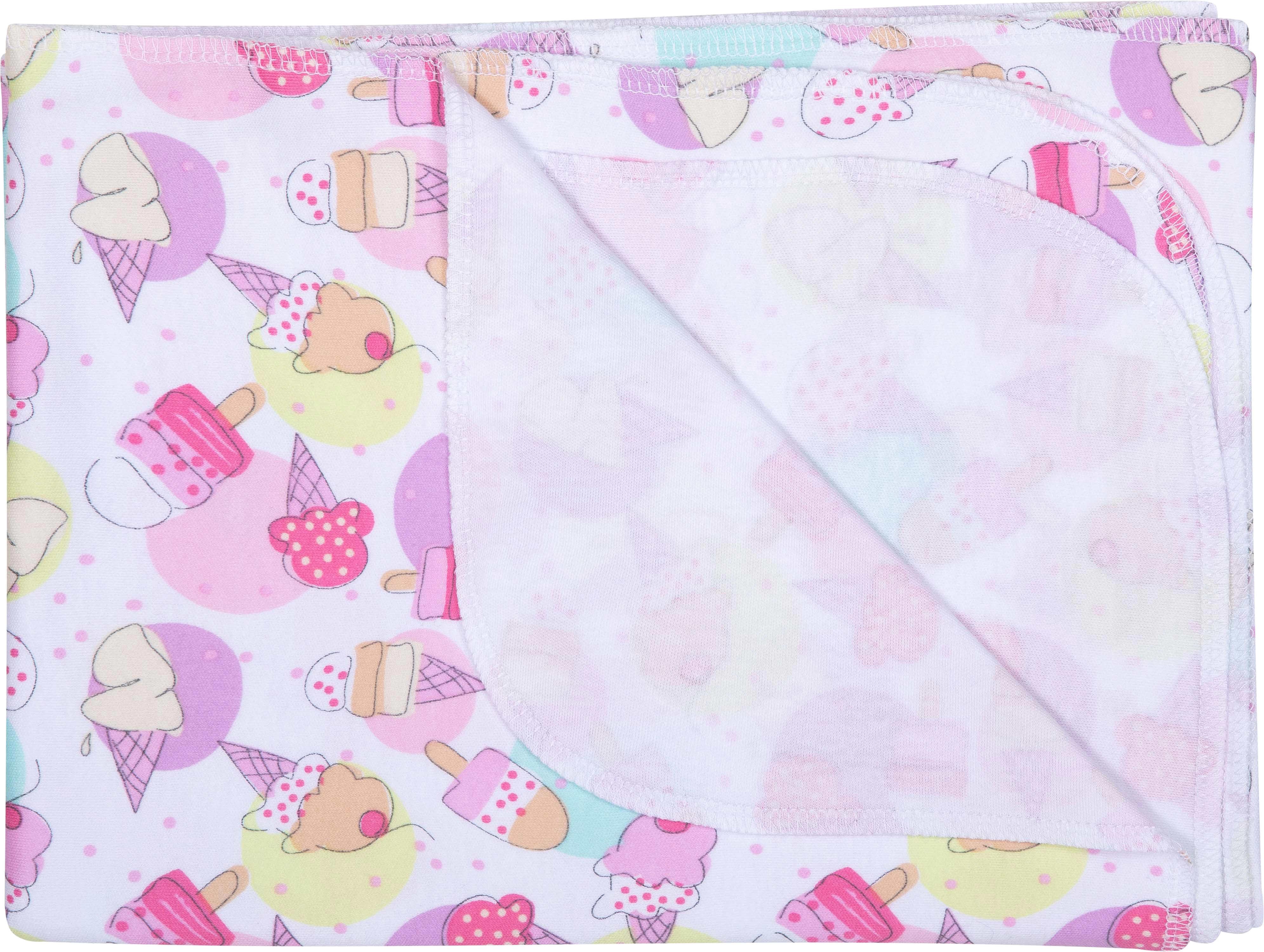 Купить Пеленки и уголки, Пеленка детская Barkito «Маленькие сладости», 120х90 см., 2шт., белая с рисунком, розовая, Россия, белый с рисунком, розовый