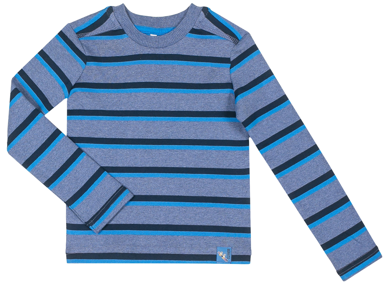Фото - Футболка с длинным рукавом для мальчика Barkito База, синяя с рисунком в полоску футболки barkito футболка с коротким рукавом для мальчика barkito механика 1 синяя с рисунком в полоску