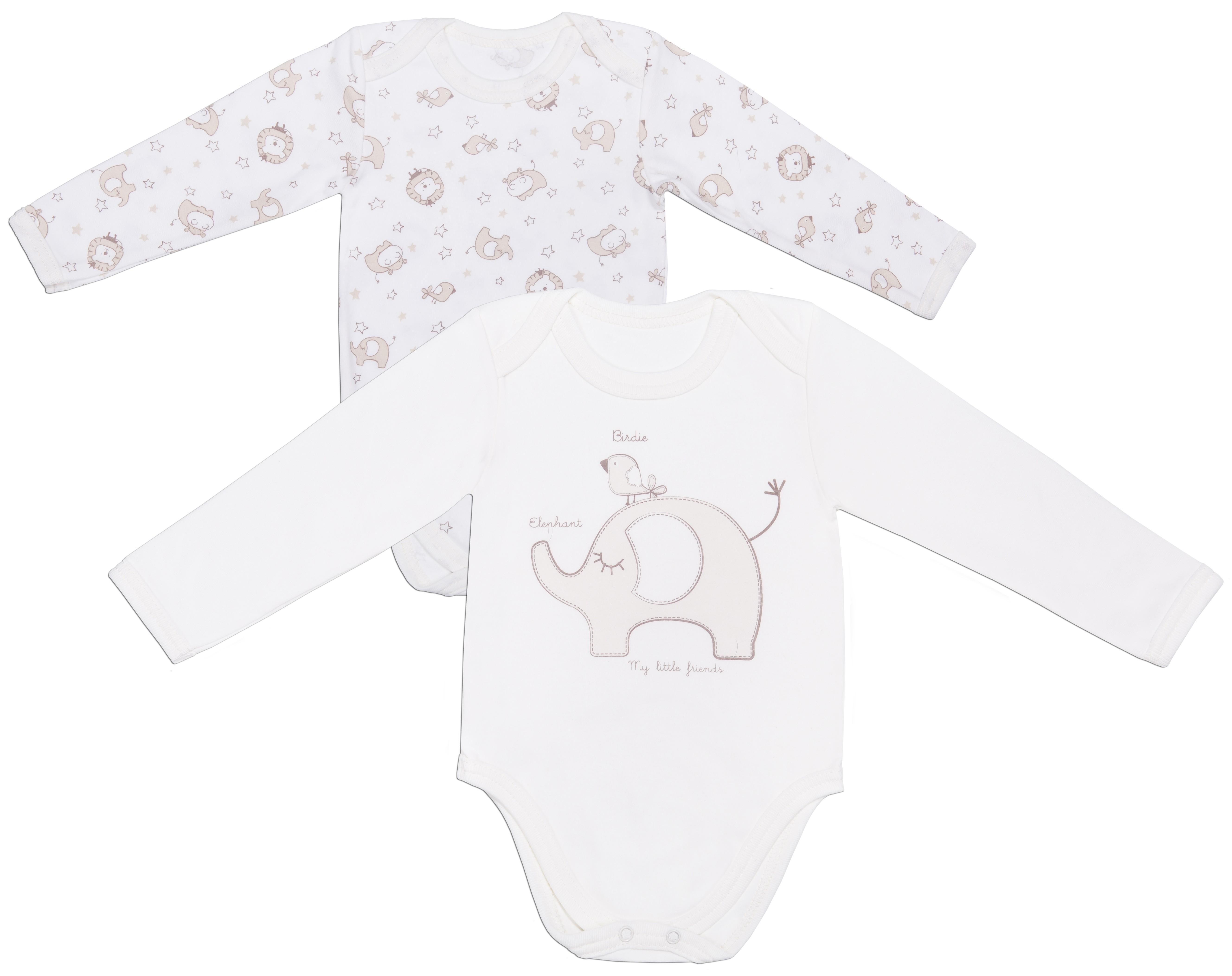 Купить Первые вещи новорожденного, Бегемотики с длинным рукавом, Barkito, Россия, экрю с рисунком /экрю