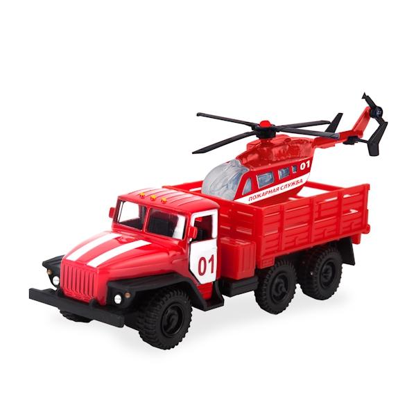 Игровой набор Технопарк Машина Урал с вертолетом технопарк машина урал будка милиция полиция