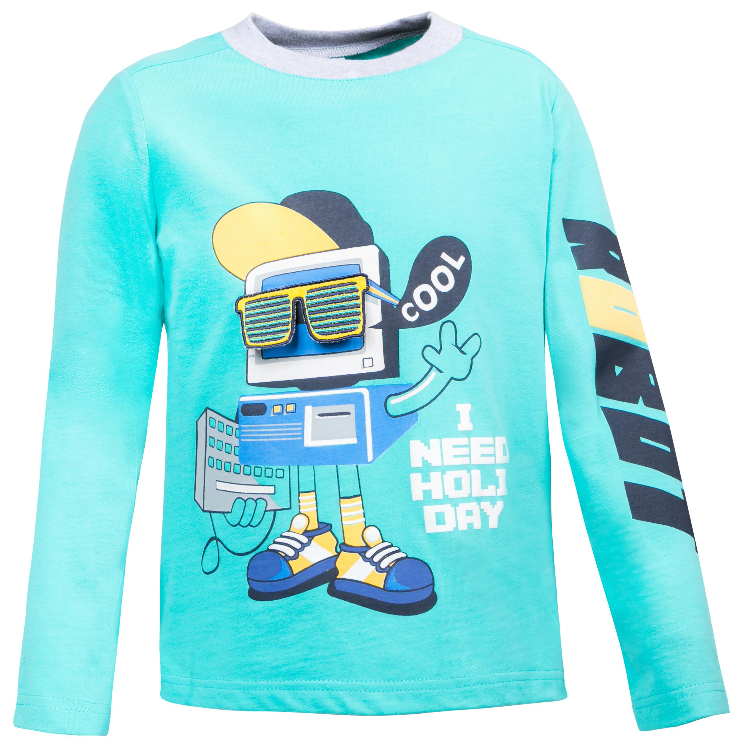 """Купить со скидкой Футболка с длинным рукавом для мальчика Barkito """"Корпорация роботов"""", голубая"""