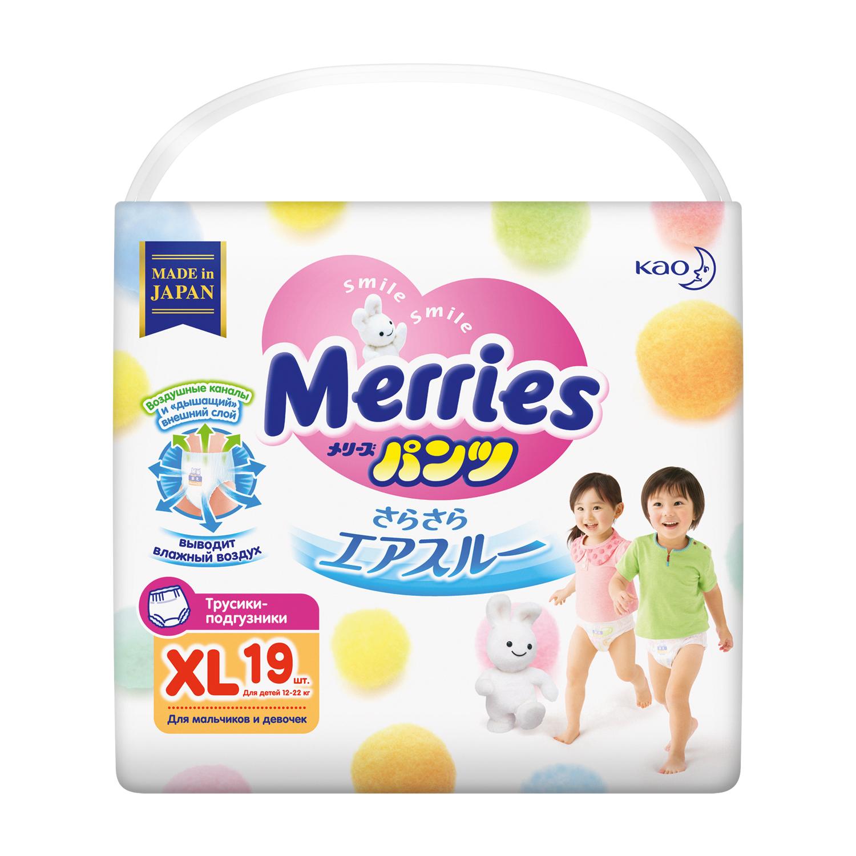 Подгузники-трусики Merries Трусики-подгузники Merries XL (12-22 кг) 19 шт. трусики подгузники merries xl 12 22 кг 76 шт