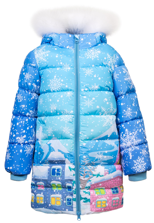 """Купить со скидкой Пальто зимнее для девочки Barkito, голубое с рисунком """"домики"""""""