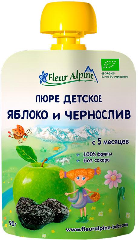 Пюре Fleur Alpine Fleur Alpine Яблоко и чернослив (с 5 месяцев) 90 г пюре fleur alpine fleur alpine organic яблоко и черника с 5 мес 90г пауч