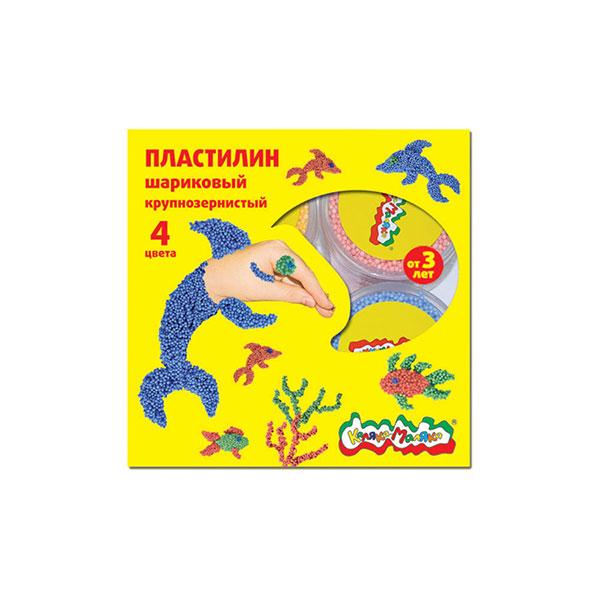 Пластилин Каляка-Маляка шариковый крупнозернистый 4 цв ПШККМ04 пластилин каляка маляка восковой 12 цветов