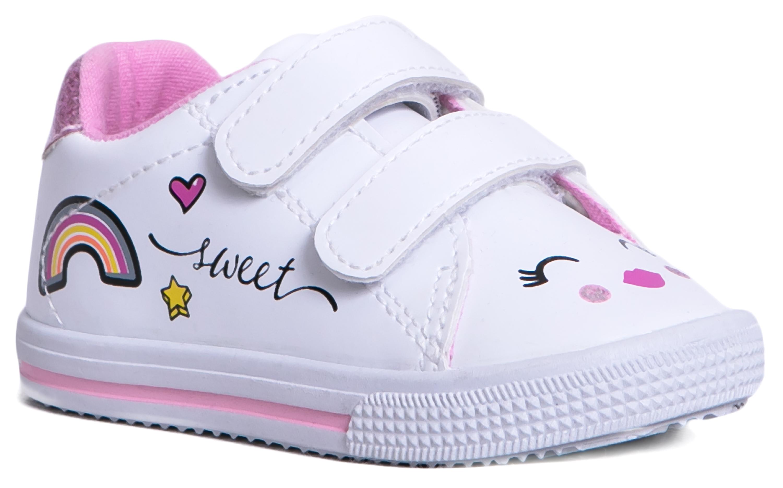 Ботинки для девочки Barkito белые с розовым