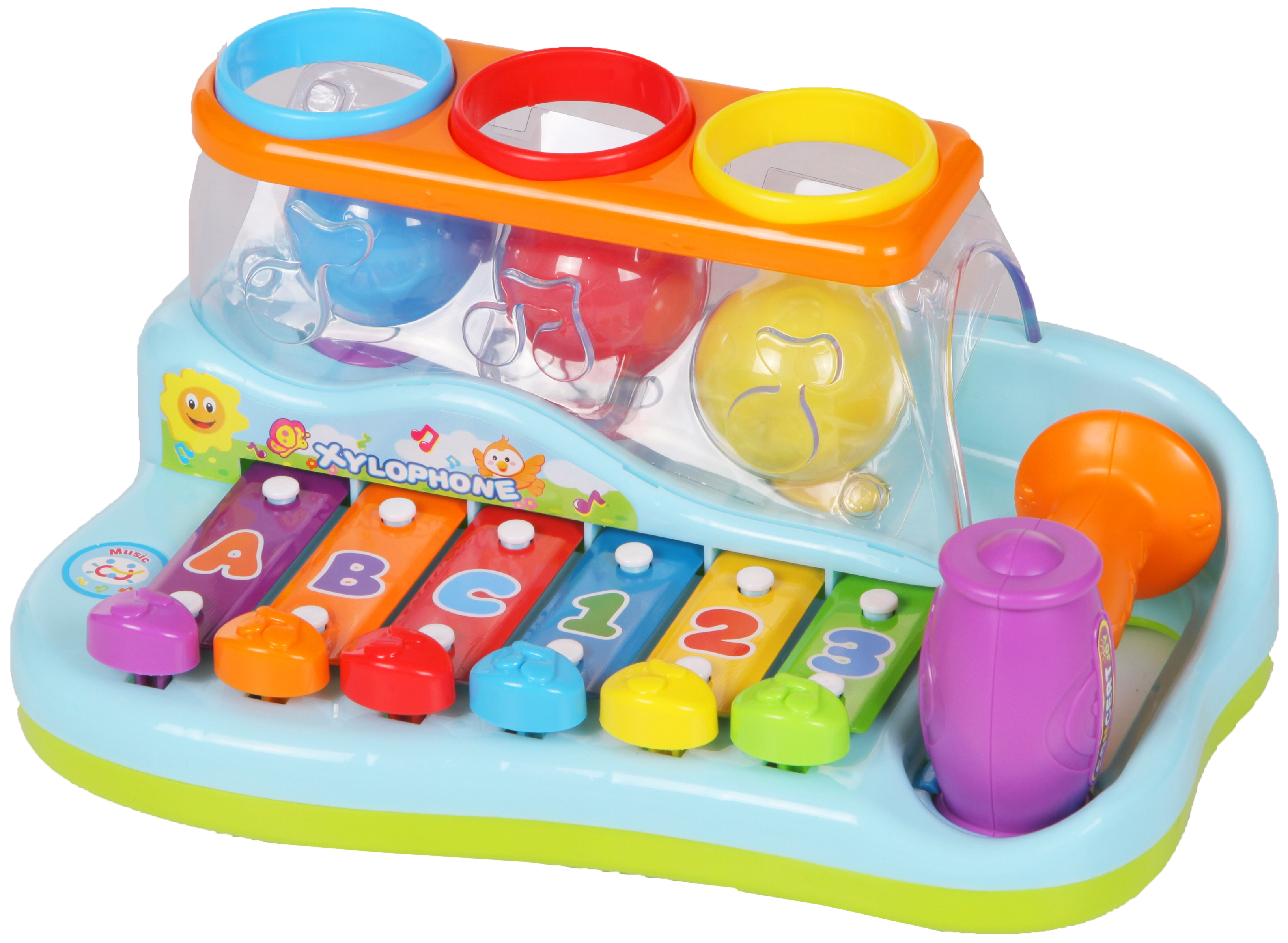 Развивающие игрушки Huile Plastik Toys Ксилофон с молоточком и шарами Y61066 цена