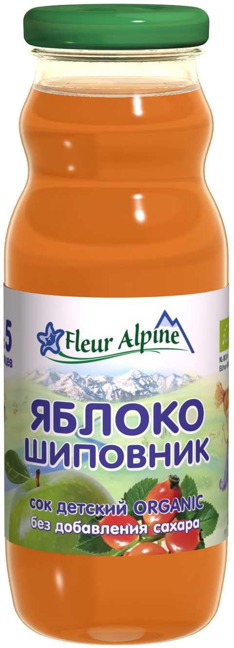 Сок Fleur Alpine Fleur Alpine Organic Яблоко-шиповник с 5 мес. 200 мл чай детский fleur alpine черника и шиповник с 5 мес 30 г