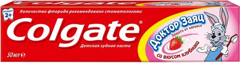 Детская зубная паста Colgate Доктор Заяц со вкусом клубники 50 мл с 2 лет зубные щетки и пасты silca со вкусом клубники с 2 лет 65 мл