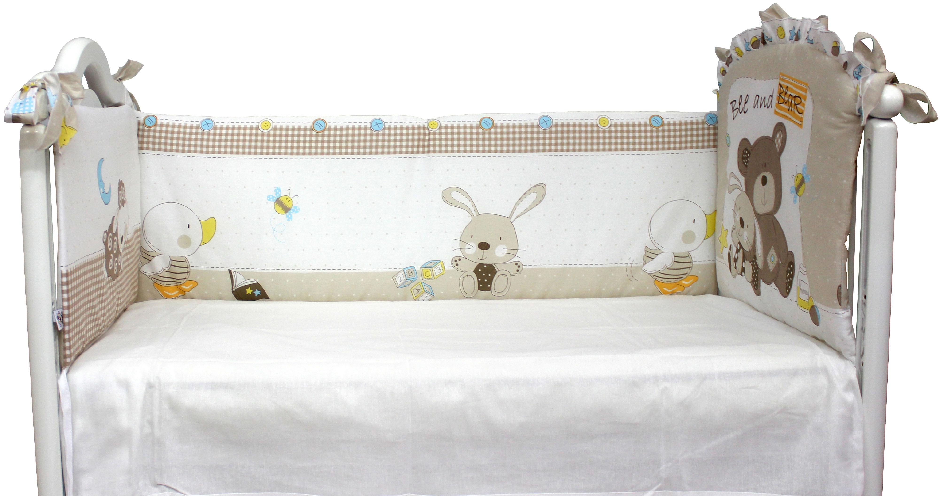 Бампер в кроватку L'Abeille Мишка с зайкой бампер на кроватку bombus светик зеленый