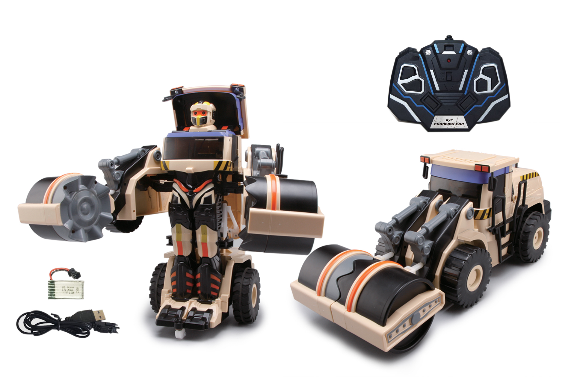 Роботы 1toy Робот-трансформер р/у 1Toy 47 см бежевый роботы happy well робот трансформер hummer h3 свет 1 32