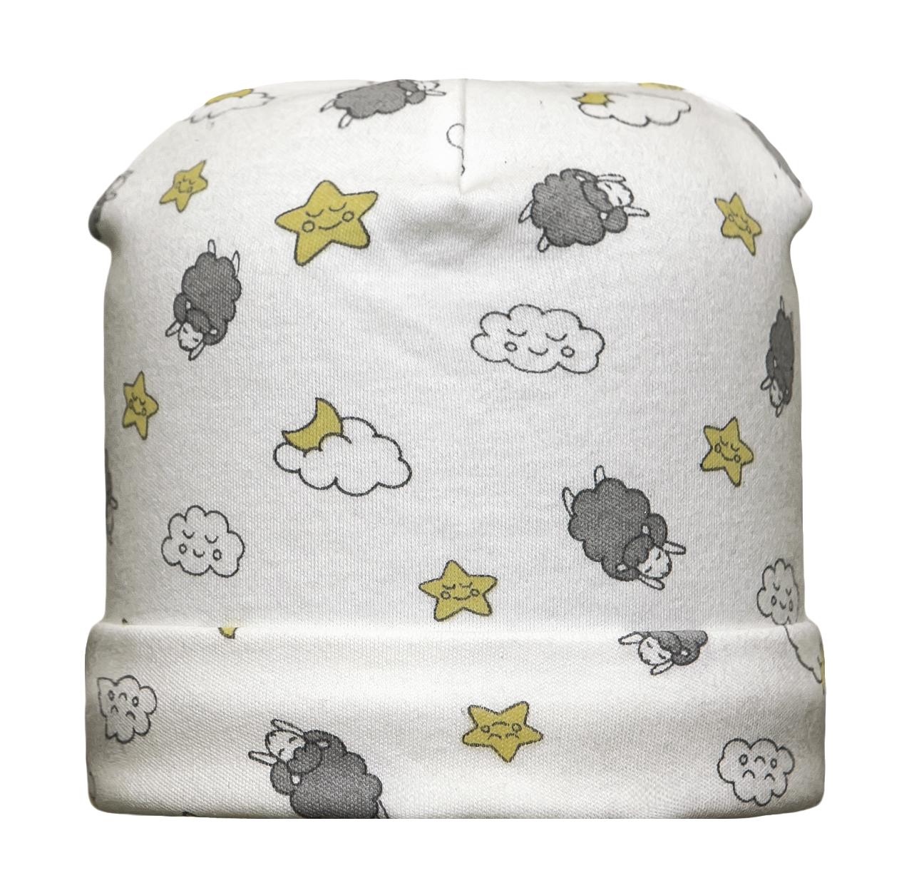 Первые вещи новорожденного Barkito Шапочка детская Barkito Спящая овечка, экрю шапочка детская новый год barkito