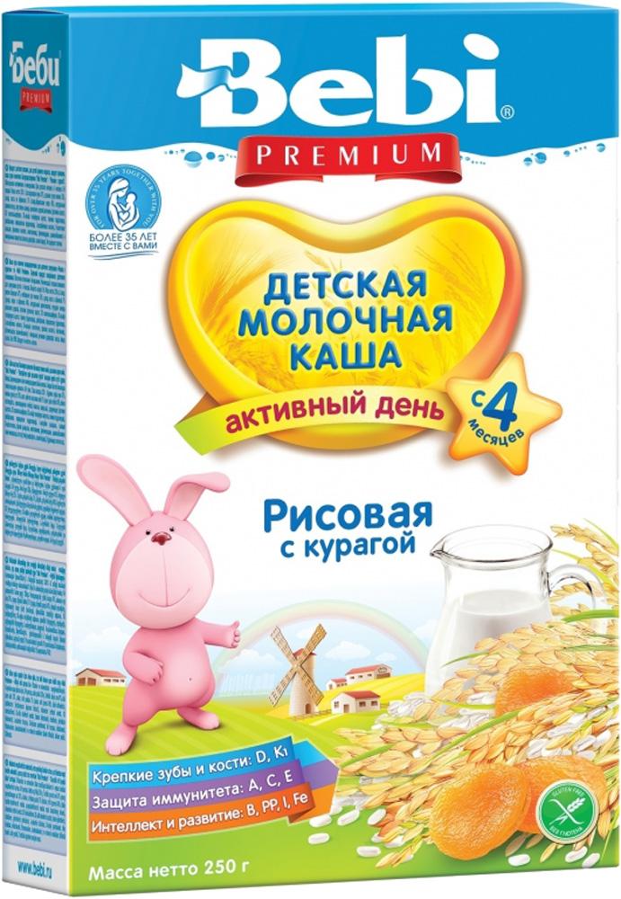 Молочные Bebi Каша молочная Bebi Premium «Активный день» рисовая с курагой с 4 мес. 250 г каша bebi рисовая молочная