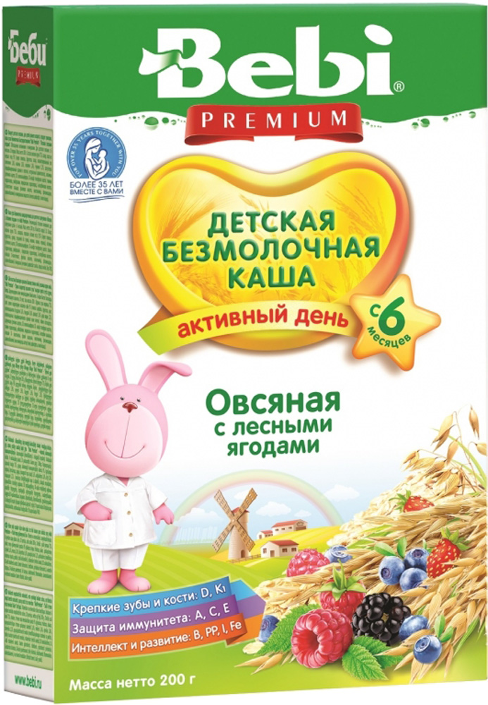 Купить Безмолочные, Bebi Безмолочная овсяная с лесными ягодами (с 6 месяцев) 200 г, Словения